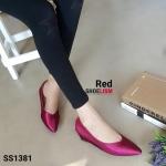 """รองเท้าคัทชู ส้นเตารีด หน้า V หนังเงา ทรงเรียวโดนใจ เก็บเท้าให้ดูสวยเพรียว มีขอบกันกัด สูง 1"""" แมทสวยได้ทุกชุด สีแดง ทอง น้ำตาล"""