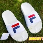 รองเท้าแตะแฟชั่น แบบสวม แต่งลาย FILA สุดเก๋ พื้นยางนิ่มยืดหยุ่น วัสดุอย่างดี ทรงสวย ใส่สบาย แมทสวยได้ทุกชุด