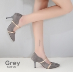 รองเท้าคัทชู ส้นสูง หนังสักหราดแต่งสายคาดทองสวยเก๋ หนังนิ่ม ส้นสูงประมาณ 3.5 นิ้ว ใส่สบาย แมทสวยได้ทุกชุด (678-29)