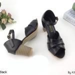 รองเท้าแฟชั่น ส้นสุง รัดส้น สวยหรู ทรงสวย หนังนิ่ม ส้นลายไม้ สูงประมาณ 3 นิ้ว ใส่สบาย แมทสวยได้ทุกชุด (KP998)