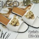 รองเท้าแตะแฟชั่น แบบสวม แต่งอะไหล่ทองหน้าเสือสไตล์เคนโซ่สวยเก๋ หนังนิ่ม ใส่สบาย แมทสวยได้ทุกชุด (KZ4129)