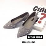 รองเท้าคัทชู ส้นแบน สวยหรู หนังสักหราด ทรงหัวแหลมแต่งเพชรด้านหน้าหรูดูดีมาก ใส่สบาย แมทสวยได้ทุกชุด (16-1307)