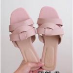 รองเท้าแตะแฟชั่น แบบสวม คาดหน้าไขว้สไตล์แอร์เมส รุ่นใหม่ สีพาสเทลสวยเก๋ไฮโซ หนังนิ่ม ทรงสวย ใส่สบาย แมทสวยได้ทุกชุด