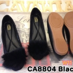 รองเท้าคัทชู ส้นแบบ สวยน่ารัก ทรงหัวมนหนังสักหราดแต่งเฟอร์ฟูนุ่มด้านหน้า หนังนิ่ม พื้นนิ่ม พื้นยางยืดหยุ่น ใส่สบาย แมทสวยได้ทุกชุด (CA8804)