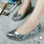 รองเท้าคัทชู ส้นเตี้ย หนังเมทัลลิคลายแตกสวยเก๋ หนังนิ่มใส่สบาย งานสวย แมทได้ทุกชุด สูง 0.5 นิ้ว สีดำ ทอง