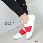 รองเท้าผ้าใบสไตล์ลำลอง Casual Sneakers สไตล์แบรนด์ TOPSHOP งานผ้าใบพื้นยางที่มีความเก๋ด้วยการแต่งแถบยางยืดบนผ้าแคนวาส แมทง่ายๆ กับทุกการแต่งตัว (188446)