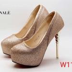 รองเท้าคัทชู ส้นสูง ทรงหัวมน หนังกลิสเตอร์วิ้ง ส้นแต่งลายเกลียวเคลือบเงาสวยหรู ทรงสวย หนังนิ่ม ส้นสูงประมาณ 5.5 นิ้ว เสริมหน้า ใส่ออกงาน ปาร์ตี้ สวยโดดเด่น แมทสวยได้ทุกชุด