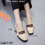รองเท้าคัทชู ส้นเตี้ย แต่งอะไหล่สไตล์กุชชี่สวยหรู ส้นแต่งมุกและหมุดทอง ทรงสวยเพรียว ส้นสูง 2 นิ้ว แมทสวยได้ทุกชุด (17-5191)