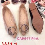 รองเท้าคัทชู ส้นแบน แต่งอะไหล่สวยหรู ทรงสวย หนังนิ่ม ใส่สบาย แมทสวยได้ทุกชุด (CA9647)