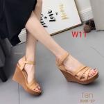 รองเท้าแฟชั่น ส้นเตารีด แบบสวม รัดส้น สวยเก๋ ส้นแต่งลาย ทรงสวยหนังนิ่ม ใส่สบาย ส้นสูงประมาณ 5 นิ้ว เสริมหน้า แมทสวยได้ทุกชุด (3091-27)