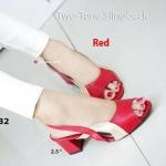 รองเท้าคัทชู ส้นเตี้ย เปิดนิ้ว แมทหนังสองสีที่มีความต่างอย่างท้าทาย Two-Tone Slingback รัดส้นด้านหลัง ส้นตัน 2.5 นิ้ว น้ำหนักเบา สวยเฟอร์เฟ็ค (0132)