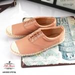 รองเท้าคัทชู สไตล์ผ้าใบน่ารัก หนังนิ่มหนานุ่ม แต่งด้วยเชือกปอรอบตัว ส้นสูง 1 cm. พื้นยางกันลื่นอย่างดี น้ำหนักเบา ทรงสวย ใส่สบาย แมทสวยได้ทุกชุด ชมพู / กรม / ขาว (601003)