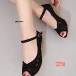รองเท้าคัทชู ส้นเตารีด เปิดนิ้ว รัดส้น แต่งลูกไม้ตัดหนังสวยวินเทจ แมทสวยได้ทุกชุด (30051-6)