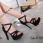 รองเท้าแฟชั่น ส้นสูง รัดส้น สานด้านหน้า สายไขว้สวยหรู ทรงสวย ใส่สบาย ส้นสูงประมาณ 5 นิ้ว เสริมหน้า แมทสวยได้ทุกชุด (17-1278)