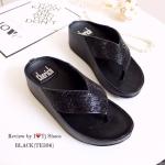 รองเท้าแตะแฟชั่น เพื่อสุขภาพ Style fitflop สายประดับเพชรเกร๋ๆ ทรงสวย ใส่นิ่มเดินสบาย สามารถใส่ได้ตลอด ใส่ชิวๆ เกร๋ฝุดๆ สูง 2 นิ้ว สีดำ เทา (TE396)
