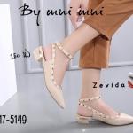 รองเท้าคัทชู ส้นแตีย รัดข้อ แต่งหมุดสไตล์วาเลนติโนสวยเก๋ ส้นประมาณ 1.5 นิ้ว ทรงสวย ใส่สบาย แมทสวยได้ทุกชุด (17-5149)