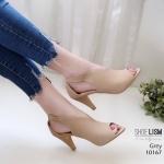 รองเท้าแฟชั่น ส้นสูง รัดส้น ดีไซน์หุ้มหน้าเท้า หน้า V เปิดนิ้วเรียบเก๋มาก รัดยางยืดใส่ง่าย หนังนิ่ม ทรงสวย ใส่สบาย ส้นสูง 3 นิ้ว แมทสวยได้ทุกชุด (10167)