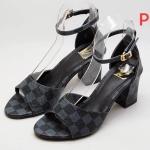 รองเท้าแฟชั่น ส้นสูง รัดข้อ แต่งลายตารางดาเมียร์สไตล์ LV สวยเก๋ หนังนิ่ม ทรงสวย ใส่สบาย ส้นสูงประมาณ 3 นิ้ว แมทสวยได้ทุกชุด (RU37)
