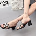 รองเท้าแฟชั่น ส้นสูง แบบสวม หน้า H สไตล์แอร์เมสเพิ่มความหรูด้วยแต่งมุกสวยดูดี ทรงสวย ส้นสูงประมาณ 2.5 นิ้ว แมทสวยได้ทุกชุด (936-6)