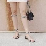 รองเท้าแตะแฟชั่น แบบสวมนิ้วโป้ง ดีไซน์รัดข้อและขา 2 ตอน แต่งโซ่สวยเก๋ สุดอินเทรนด์ใส่ง่าย ทรงสวย ใส่สบาย แมทสวยได้ทุกชุด (DD35)