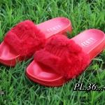 รองเท้าแตะแฟชั่น แบบสวม แต่งเฟอร์ฟุนุ่ม ปักพูม่าด้านหน้า พื้นยางนิ่มอย่างดี ใส่สบาย แมทสวยได้ทุกวัน