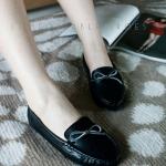 รองเท้าคัทชู ทรง loafer ส้นเตี้ย สไตล์ม็อกกาซีน โทนสีพาสเทล ผูกโบว์น่ารัก ใส่ง่าย ใส่สบายมาก สีดำ เทา ครีม เหลือง (c61-013)