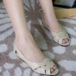 รองเท้าคัทชู เปิดหน้า ดีไซน์เรียบหรู ไขว้หน้า ส้นเตารีด สูง1นิ้ว ใส่ง่าย ใส่สวย สวมสบาย