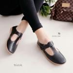 รองเท้าคัทชู เพื่อสุขภาพ เรียบเก๋ หนังนิ่มฉลุลาย เกรดคุณภาพ พื้นนวมนิ่มใส่สบาย ส้นกันลื่นด้วยยางสังเคราะห์ แมชได้ทุกชุด สูง 1.5 นิ้ว สีดำ ครีม น้ำตาล