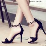 รองเท้าแฟชั่น ส้นสูง รัดข้อ งานสวยเปรี้ยวหรู เป็นหนังสักหลาดนุ่ม สายรัด ข้อเท้า แต่งอะไหล่สีทองสวยงาม ด้านหลังเป็นซิปรูด ใส่ง่าย มีน้ำหนักเบา สูง 4 นิ้ว แมทเก๋ได้ทุกชุด สีดำ ทอง แดง (G-799)
