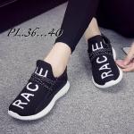 รองเท้าผ้าใบแฟชั่น ทรงสวยเพรียว แต่งลายสวยเก๋เทห์สไตล์เกาหลี ผูกเชือกหน้าเพิ่ม ความกระชับ ใส่สบาย แมทสวยได้ทุกวัน