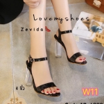 รองเท้าแฟชั่น ส้นสูง รัดส้น สวยหรูด้วยหนังเมทาลิคเงาเข้ากับส้นใสเก๋มาก ส้นตัดสูงประมาณ 4 นิ้ว แมทสวยได้ทุกชุด (17-4086)