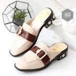 รองเท้าคัทชู เปิดส้น สวยหรู แต่งเข็มขัดด้านหน้า ส้นแต่งมุกสไตล์กุชชี่สุดเก๋ ใส่สบาย แมทสวยได้ทุกชุด (DC7037)