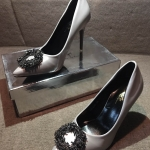 รองเท้าคัทชู ส้นสูง สวยหรู หนัง PU นิ่มเนียนสวย แต่งอะไหล่หรูสไตล์แบรนด์ ดัง รุ่น hot hit ทรงสวย แมทสวยโดดเด่นได้ทุกชุด ส้นสูง ประมาณ 3.5 นิ้ว