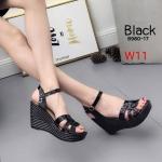 รองเท้าแฟชั่น ส้นเตารีด รัดส้น หนังเงาแต่งคาดหน้าสไตล์อีฟแซงสวยเก๋ ส้นแต่งลายริ้ว หนังนิ่ม ทรงสวย ส้นสูงประมาณ 4 นิ้ว เสริมหน้า ใส่สบาย แมทสวยได้ทุกชุด (8980-17)