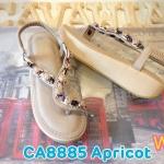 รองเท้าแฟชั่น ส้นมัฟฟิน รัดส้น แบบสวมนิ้วโป้ง แต่งอะไหล่เพชรสวยหรู พื้นนิ่ม รัดส้นยางยืดนิ่ม ใส่สบาย แมทสวยได้ทุกชุด (CA8885)