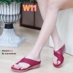รองเท้าแฟชั่น แบบสวมนิ้วโป้ง สไตล์ลำลอง หนังนิ่มเรียบตัดหนังลายด้านข้างแต่งขอบทองสวยมีสไตล์ พื้นนิ่มใส่สบาย แมทสวยได้ทุกชุด (Pf2223)