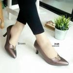 """รองเท้าคัทชู ส้นสูง เรียบหรู บุฟองน้ำนิ่ม ใส่สบาย ระบายอากาศไม่อับชื้น งานสวย ใส่ได้ทุกโอกาส สูง 3"""" สีดำ น้ำตาล ทอง เทา"""