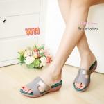 รองเท้าแฟชั่น ส้นเตารีด สไตล์ลำลอง แบบสวม ตัดหนังสีทูโทนสวยเก๋ วัสดุอย่างดี พื้นนิ่ม ใส่สบาย แมทสวยห์ได้ทุกชุด (pf2010)