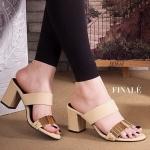 รองเท้าแฟชั่น ส้นสูง แบบสวมสวยหรู แต่งคาดหน้าอะไหล่ทองสวยดูดี ส้นตัดสูงประมาณ 3 นิ้ว ใส่สบาย แมทสวยได้ทุกชุด