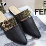รองเท้าคัทชู เปิดส้น แต่งสายคาดและอะไหล่ลายสไตล์เฟนดิสวยหรู หนังนิ่ม ทรงสวย ใส่สบาย แมทสวยได้ทุกชุด (TG269)