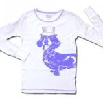 เสื้อ สีขาว-น้ำเงิน ลายหมาใส่หมวก 10T
