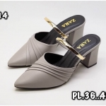 รองเท้าคัทชู เปิดส้น แต่งลายริ้วและคาดทองสวยหรูสไตล์ ZARA หนังนิ่ม ทรงสวย ส้นสูงประมาณ 2.5 นิ้ว ใส่สบาย แมทสวยได้ทุกชุด (P-14)