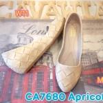 รองเท้าคัทชู ส้นเตารีด สวยน่ารัก หนังพิมพ์ลายสาน พื้นนิ่ม ใส่สบาย ส้นสูงประมาณ 2 นิ้ว แมทสวยได้ทุกชุด (CA7680)