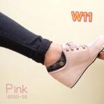รองเท้าบูทสั้น ส้นเตารีด แต่งขอบลายสก๊อต ผูกเชือกหน้า สวยน่ารัก สไตล์เกาหลี หนังนิ่ม เสริมส้นด้านในสูงประมาณ 2.5 นิ้ว ใส่สบาย แมทสวยได้ทุกชุด (ฺB550-38)