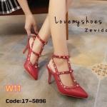 รองเท้าคัทชู ส้นสูง รัดข้อ แต่งหมุดสลับสีสวยเก๋ไม่เหมือนใคร สไตล์วาเลนติโน ส้นสูงประมาณ 3.5 นิ้ว ใส่สบาย แมทสวยได้ทุกชุด (17-5096)