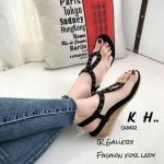 รองเท้าแฟชั่น ส้นเตารีด สวยหรู แบบหนีบ รัดส้น แต่งหมุดเก๋ พื้นบุนุ่ม รัดส้น ยางยืดนิ่มใส่ สบาย แมทสวยได้ทุกชุด (CA8402)