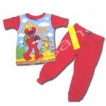 ชุดนอน สีแดง ลาย Sesame Street กับลิง 2T