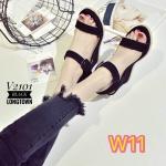 รองเท้าแฟชั่น ส้นเตารีด รัดข้อ สวยเก๋ หนังสักหราดแต่งรอบส้นเชือกถักเพิ่มความน่ารัก ใส่สบาย แมทสวยได้ทุกชุด (V2101)