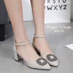รองเท้าคััทชู ส้นสูง รัดส้น หนังกลิสเตอร์แต่งอะไหล่สวยหรู ส้นสูงประมาณ 2.5 นิ้ว แมทสวยได้ทุกชุด (B06-12)