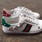รองเท้าผ้าใบแฟชั่น แต่งลายสไตล์กุชชี่และหมุดสุดเท่ห์ สุดฮิต วัสดุอย่างดี ใส่สบาย แมทสวยได้ทุกชุด